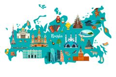 Russia vector map illustration. Hand draw atlas. With Russian landmarks isolated on white background vector illustration