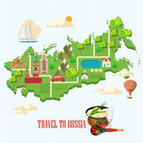 Russia vector poster. Russian background with city landmark. Travel concept. Royalty Free Stock Images
