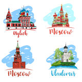 Russia. Vector. Silhouette. Icon. Sign. Russia. Icon. Sign. Set. Hand drawn vector illustration. Landscape with church. Old russian town cityscape. Sketch Stock Photos