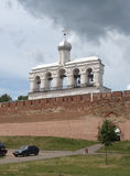 Russia, Veliky Novgorod: a view of the belfry of St. Sophia Cathedral  from the river Volkhov Stock Photography