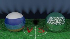Russia versus Saudi Arabia. 2018 FIFA World Cup.Original 3D image. June 14, Russia vs Saudi Arabia. 2018 FIFA World Cup.Original 3D image. Two balloons above a Stock Photography