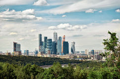 Russia. View of the Moscow City with the Vorobyovy Hills in Moscow. 20 June 2016. Royalty Free Stock Photography