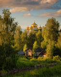 Russia. Village. Golden domes. Beauty of Russia royalty free stock images