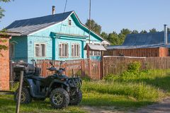 Russia. Village house in suburbs of Moscow on sunny summer day. stock image