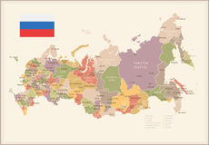 Russia - vintage map and flag - illustration Royalty Free Stock Photography