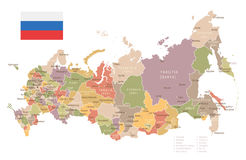 Russia - vintage map and flag - illustration Royalty Free Stock Image