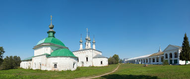 Russia. Vladimir region. Town of Suzdal. Ensemble. Of white classical churches and old market Royalty Free Stock Photo