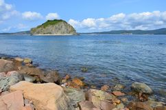 Russia, Vladivostok, Amur Bay, the view for the island Malyy from the island of Klykov in sunnny day. Russia. Vladivostok, Amur Bay, the view for the island stock image