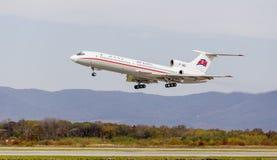 Passenger aircraft Tupolev Tu-154 of Air Koryo North Korea takes off. Aviation and transportation stock images