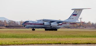 Rescue jet aircraft Ilyushin IL-76 NATO reporting name: Candid of The Ministry of Emergency Situations of Russia is landing. Russia, Vladivostok, 10/13/2017 royalty free stock photography