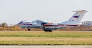 Rescue jet aircraft Ilyushin IL-76 NATO reporting name: Candid of The Ministry of Emergency Situations of Russia takes off. Russia, Vladivostok, 10/13/2017 royalty free stock photos