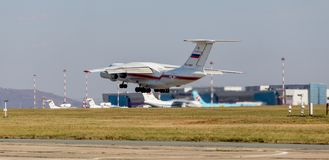 Rescue jet aircraft Ilyushin IL-76 NATO reporting name: Candid of The Ministry of Emergency Situations of Russia takes off. Russia, Vladivostok, 10/13/2017 royalty free stock image