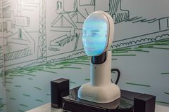 Russia, Vladivostok, September 12, 2018: Artificial intelligence, a robot that can talk stock photos