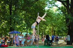 Exercises on a pole