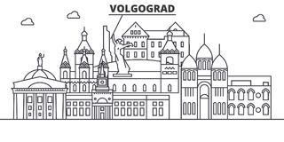 Russia, Volgograd architecture line skyline illustration. Linear vector cityscape with famous landmarks, city sights Royalty Free Stock Images