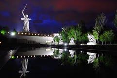 Russia. Volgograd. Mamaev kurgan. The monument. Memorial Motherland on Mamaev Hill at evening stock images