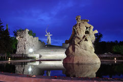 Russia. Volgograd. The monument. Memorial Motherland on Mamaev Hill at evening royalty free stock image