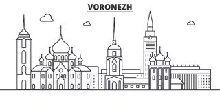 Russia, Voronezh architecture line skyline illustration. Linear vector cityscape with famous landmarks, city sights. Design icons. Editable strokes Royalty Free Stock Photography