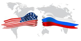 Russia vs America, fist flag on world map background. Royalty Free Stock Image