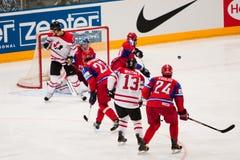 Russia vs. Canada. 2010 World Championship. COLOGNE, GERMANY - MAY 20 : 2010 IIHF (Internation Ice Hockey Federation) World Championship. Quarterfinal game stock image