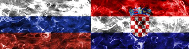 Russia vs Croatia smoke flag, quarter finals, football world cup 2018, Moscow, Russia.  royalty free stock photos
