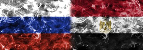 Russia vs Egypt smoke flag, group A, Fifa football world cup 201. 8, Moscow, Russia Royalty Free Stock Image