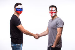 Russia vs England friendly handshake of equal game on white background. Stock Images