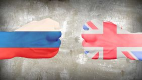 Russia vs Great Britain. Men`s fists in national flag colors. Human elements were created with 3D software and are not from any actual human likenesses royalty free illustration