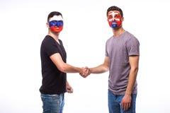 Russia vs Slovakia handshake equal game on white background. Stock Photo