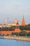 Russia. Wall and towers of Moscow Kremlin Stock Photos