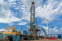 Russia, Western Siberia. Maintenance of oil wells. Repairing of oil wells.  Drilling rig. Stock Image