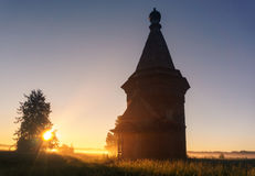 Russia. wooden chapel in the field Stock Image