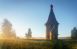 Russia. wooden chapel in the field Royalty Free Stock Photography