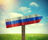 Russia wooden direction sign Stock Images