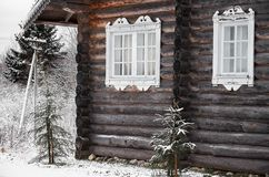 Russia. Wooden house in the village of Kinerma in Karelia. November 16, 2017 Stock Photo