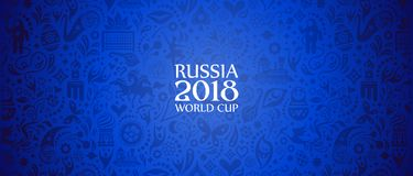 Russia 2018 World Cup banner. Illustration of an unofficial Russia Football World Cup 2018 banner background in a blue Russian themed pattern with white Stock Images