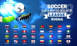Russia 2018 world cup calendar. Soccer schedule table template. Final results with flags of countries match date time and location Royalty Free Stock Image