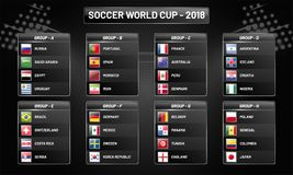 Russia 2018 world cup calendar. Soccer schedule table template,. Groupwise. Final results with flags of countries match date time and location Stock Image