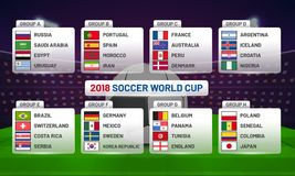 Russia 2018 world cup calendar. Soccer schedule table template ,. Groupwise. Final results with flags of countries match date time and location Royalty Free Stock Images