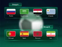 Russia 2018 world cup calendar. Soccer schedule table template ,. Groupwise. Final results with flags of countries match date time and location Stock Images