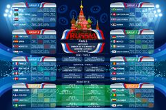 Russia World Cup Calendar Web Banner. Russia 2018 world cup calendar. Soccer schedule table template vector illustration. Final results with flags of countries Stock Images