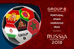 Russia World Cup Design Group B. Russia world cup 2018 group b wallpaper with russian pattern and football ball. Vector design Royalty Free Stock Image