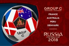 Russia World Cup Design Group C. Russia world cup 2018 group cwallpaper with russian pattern and football ball. Vector design Stock Photography