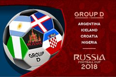 Russia World Cup Design Group D. Russia world cup 2018 group dwallpaper with russian pattern and football ball. Vector design Stock Photography