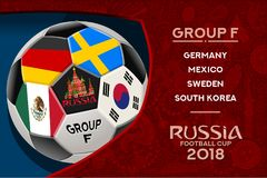 Russia World Cup Design Group F. Russia world cup 2018 group f wallpaper with russian pattern and football ball. Vector design Stock Images