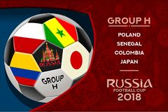 Russia World Cup Design Group H. Russia world cup 2018 group h wallpaper with russian pattern and football ball. Vector design Royalty Free Stock Photo