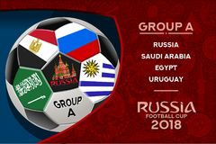 Russia World Cup Design Group A. Russia world cup 2018 group a wallpaper with russian pattern and football ball. Vector design Stock Photos