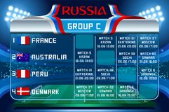 Russia world cup group c vector wallpaper. Russia World Cup 2018 footbal. Match schedule countries group C scoreboard soccer. Stadium time table background Royalty Free Stock Photography
