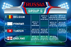 Russia world cup group g vector wallpaper. Russia World Cup 2018 footbal. Match schedule countries group G scoreboard soccer. Stadium time table background Royalty Free Stock Image