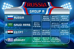 Russia world cup group a vector wallpaper. Russia World Cup 2018 footbal. Match schedule countries group A scoreboard soccer. Stadium time table background Stock Photos